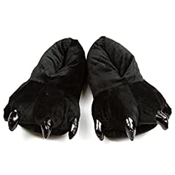 FashionFits Unisex Soft Plush Home Slippers Animal Costume Paw Claw Shoes Black L