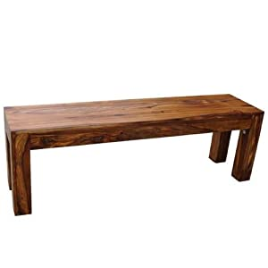 Long Cube Sheesham Kitchen Bench Wooden Dining Room Bench Cube