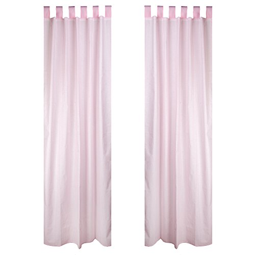 "Seed Sprout 2 Piece Curtain Panels, Gingham, Pink, 84"" - 1"