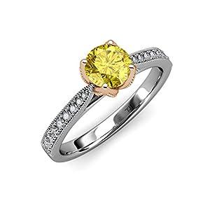 Yellow Sapphire & Diamond Milgrain 2 Tone Solitaire Plus Engagement Ring 1.11 ct tw 14K White Gold