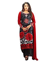 Admyrin Black and Red Cambric Cotton Salwar Kameez With Red Chiffon Dupatta