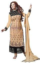 CreationBuddy Chikoo,Black Embroidered Net Salwar Suit Dress Material Chudidar Party Festive