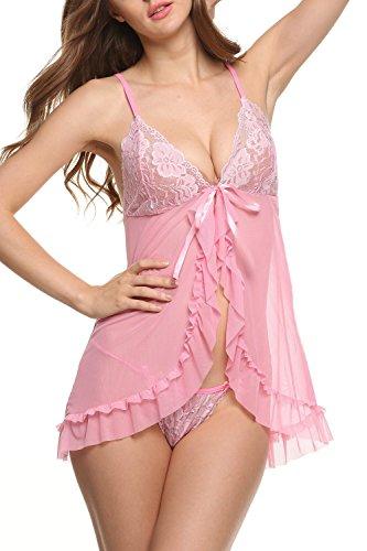 Avidlove Damen Nachtkleid Bodydoll Unterwäsche Reizwäsche Lingerie mit G String Dessous Erotik Set