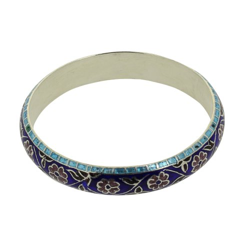Enamel Bangle for Women Silver Jewelry Indian Artisan Crafted, 6.35 Cm