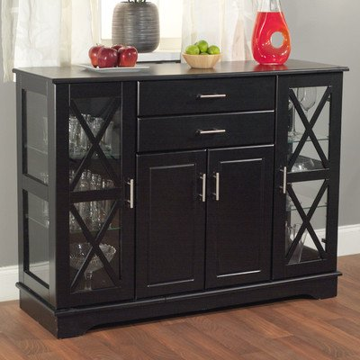 Black Buffet Dining Room Storage Furniture Server Glass