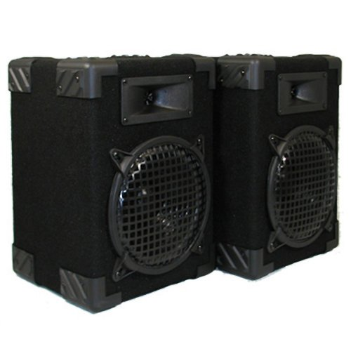 Podium Pro 800C Home Pa Dj Karaoke Bookshelf Black Pro Audio Two Way Speaker Pair
