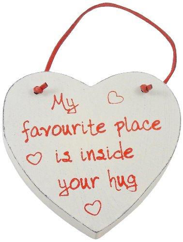 Heartwarmers 1-Piece Wood Wooden Loving Heart Keepsake Gift Hanger Sign �My Favourite Place, Cream