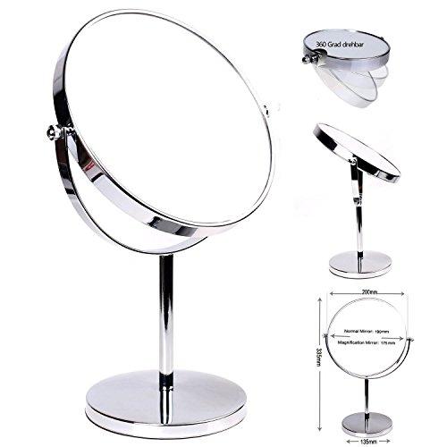 HIMRY-Cosmtica-Espejo-Espejos-para-bao-espejo-de-mesa-8-pulgadas-Espejo-360--de-rotacin-19-cm-Espejos-con-cara-Doble-Estndar-35710-aumentos-KXD-3108