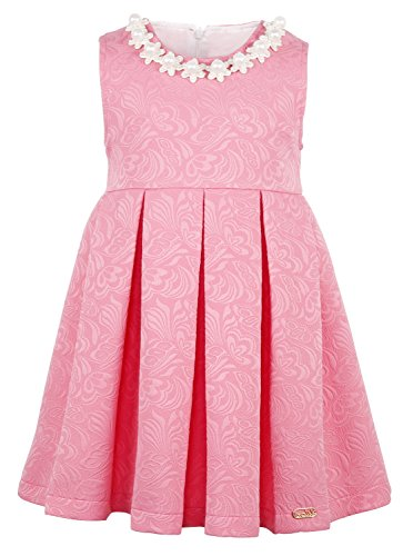 Lilax Little Girls' Flocked Pearl Neckline Beaded Occasion Dress 2T Pink