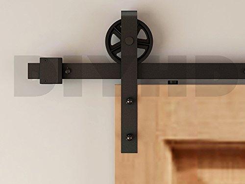 DIYHD 8ft Vintage Strap Industrial Wheel Double Sliding Barn Wood Door Interior Closet Door Kitchen Door Track Hardware (Vintage Barn Door Hardware compare prices)