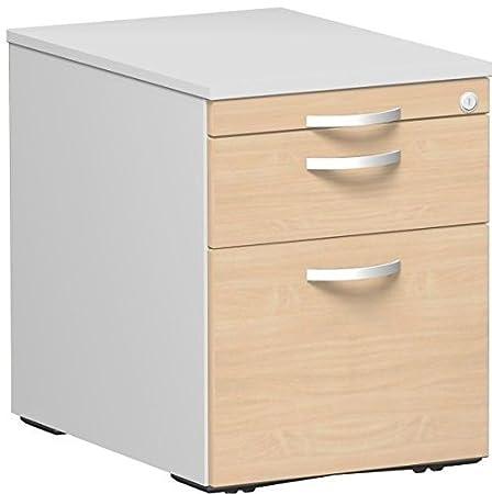 Roll Container Cartelle Sospese e 1cassetto, con utensili di plastica cassetto, di metallo rotante Teila, chiusura centralizzata, nascosti-Rotelle doppia, 438x 600x 565, acero/grigio chiaro, Gera mobili