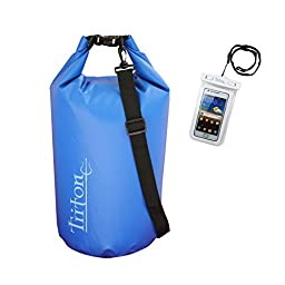 Triton 30l Roll Top Dry Bag - Durable Waterproof Compression Sack - with BONUS Waterproof Cell Phone Pouch - For ALL Season Recreation. Boating, Camping, Kayaking, Diving, Biking, Skiing & Beach Fun