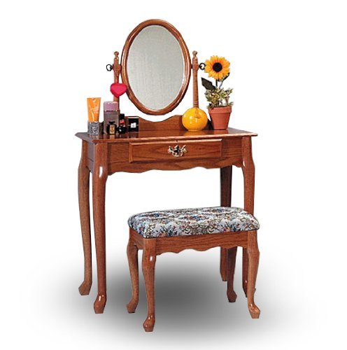 Oak wood vanity with table bench set discount niederros for Cheap vanity table set