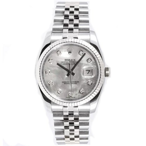 Rolex Mens New Style Heavy Band Stainless Steel Datejust Model 116234 Jubilee Band 18K White Gold Fluted Bezel Mother Of Pearl Diamond Dial
