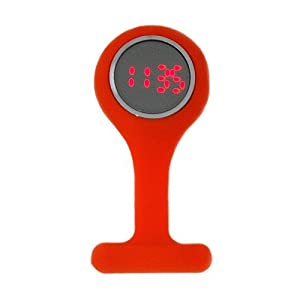 Boxx Led Digital Orange Rubber Infection Control Nurses Fob Watch