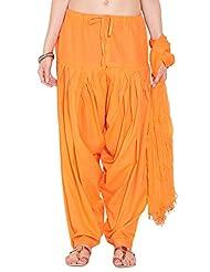 Stylenmart Ladies Orange Cotton Regular Fit With Dupatta Dupatta Patiala Set