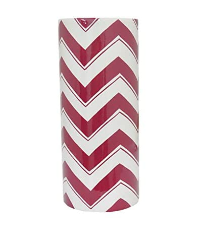 Three Hands Tall Trellis Ceramic Vase, Red/White
