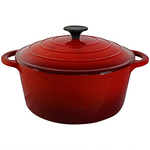 Sunnydaze Red Enamel Coated Cast Iron Pot, Pre-Seasoned, 9-Inch
