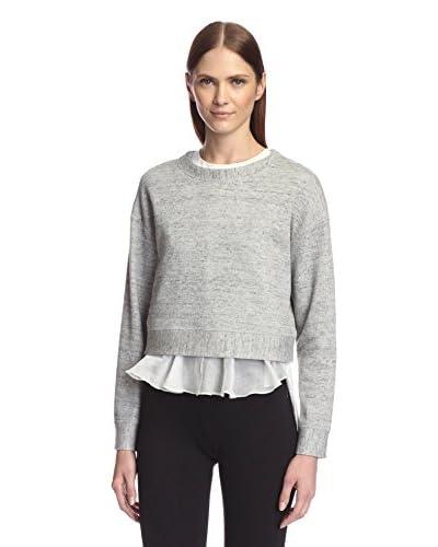 Derek Lam 10 Crosby Women's 2-in-1 Long Sleeve Sweatshirt  [Grey/White]