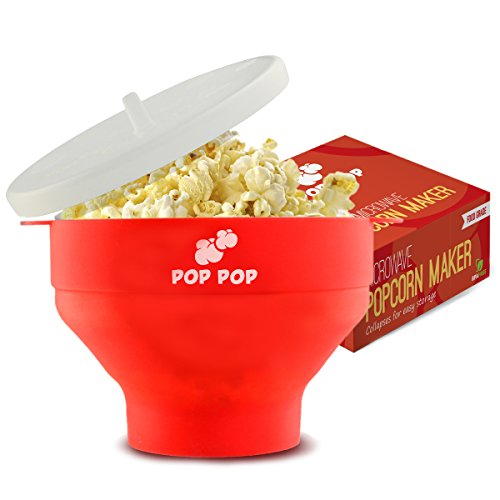 Microwave Popcorn Maker - No Oil Needed - Easy to Cook Healthy Snack - Collapsible Silicone Popper with Lid and Handles - Red (Steam Cook Microwave compare prices)