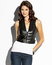 bebe Cropped Leatherette Vest