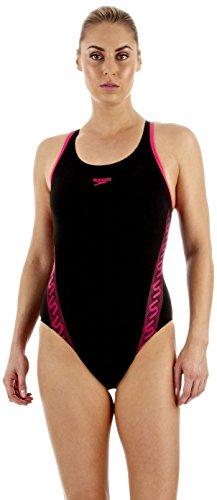 speedo-monogram-banador-de-natacion-para-mujer-multicolor-negro-rosa-talla28