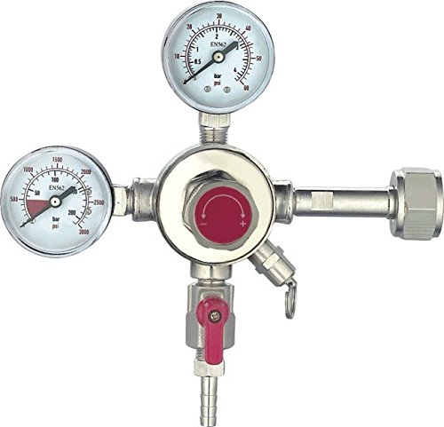 HFS (TM) Commercial CO2 Regulator - Beer Brewing Kegerator Dual Gauge Shutoff Valve 5/16