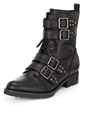 Limited Edition Multiple Buckle Lace Up Boots