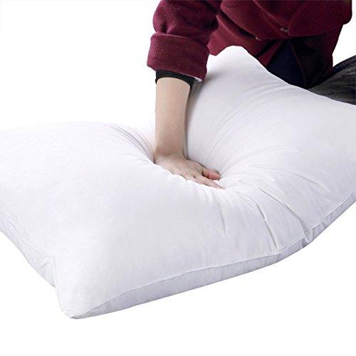 枕 安眠 人気 肩こり まくら 洗える ホテル仕様 中綿 低反発 ピロー (43X63cm, ホワイト)