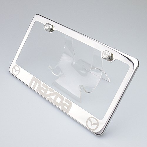 100% Stainless Steel Mazda Laser Engrave Chrome Mirror Polish License Plate Frame Holder with Logo Steel Screw Caps (Miata License Plate Frame compare prices)