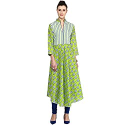 Bhama Couture Green Printed Anarkali Kurti Small