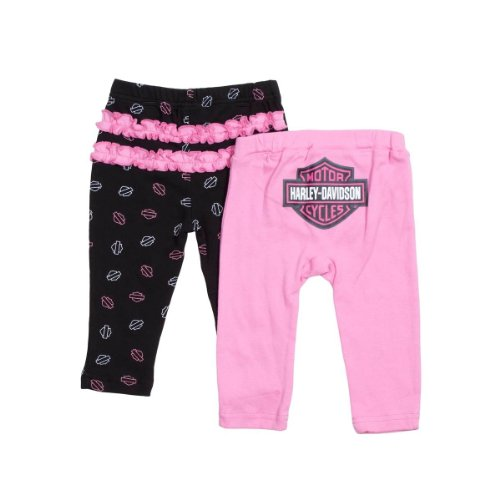 Harley Davidson Baby Girl Pants Set in Pink, 18M