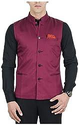 Suchos Men's Poly Cotton Shirt (SJ13, Maroon, M)