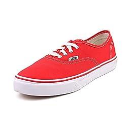 Vans Kids VANS AUTHENTIC SKATE SHOES 3.5 (RED)