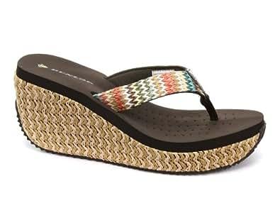 Dunlop Femme Multicolore Raffia Wedge Flip-Flops, Brown, Pointure 39