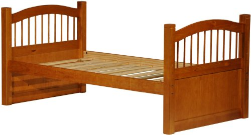 Epic  Solid Wood York Twin Post Platform Bed Honey Pine w x h x l Slats Included Optional Trundle With Drawers Trundle Drawers Rail Guard