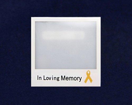 Gold Ribbon Photo Pin- In Loving Memory (25 Pins)