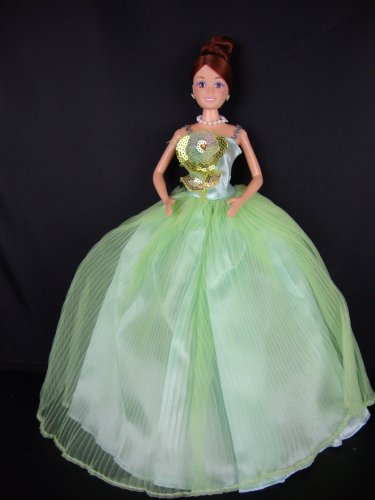 Light Green Dress with Gold Sequined Flower on the Botice Made to Fit the Barbie Doll