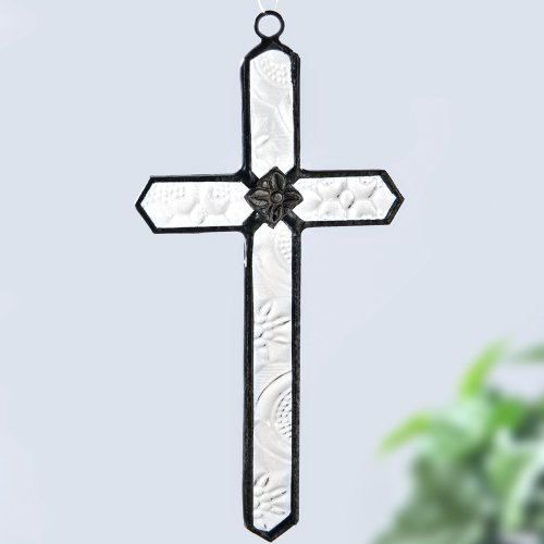 J Devlin Orn 183-2 Stained Glass Cross Ornament or Window Sun Catcher (Small Glass Window compare prices)