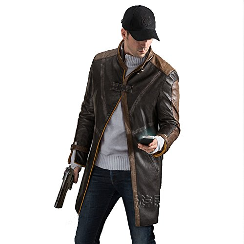 LifeShoppingMall Brown Watch Dogs Leather Coat