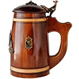 Medieval German style Huge Beer Stein with Lid 27 oz. Renaissance Oktoberfest Wooden Mug. Old Times Tall Coffee Drinking Cup. Authentic Giant Wood Tankard with Handle. Men, Fathers Day, Birthday Gift (Color: Brown, Tamaño: 27 oz)