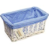 WoodLuv Small Wicker Storage Basket with Blue Gingham Lining, White