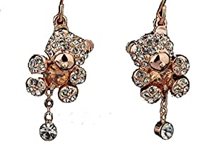 Italina Rigant Women's Rose Gold Plated Champange Colored Zircon Heart and Rhinestone Teddy Bear Drop Earrings