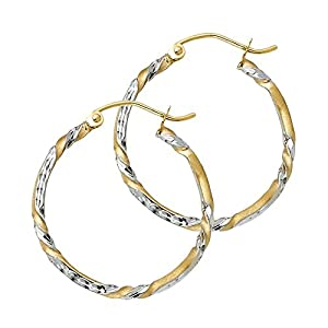 Wellingsale® Ladies 14k Two Tone White and Yellow Gold Diamond Cut Polished Polished 2mm Twist Hoop Earrings (20mm Diameter)