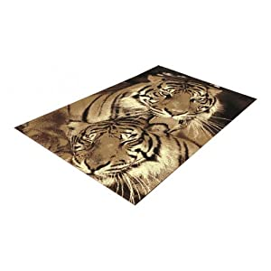 2 Sizes Available - Wildlife - Tigers Brown - Animal Theme Rug by Flair Rugs