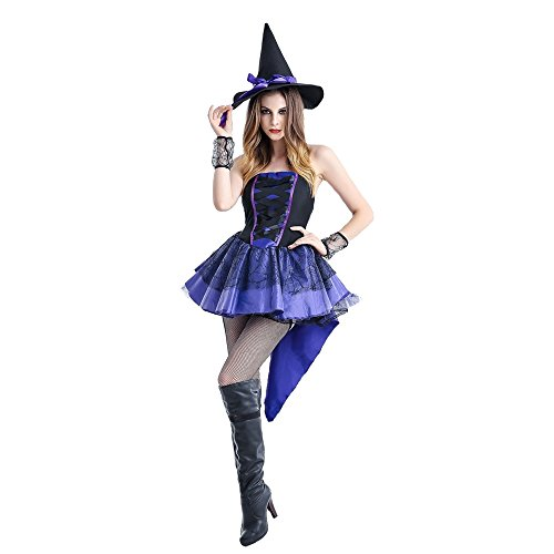 [ZNFQC Women Purple Blue Witch Halloween Costumes Dovetail Skirt Uniform Plus Size (XXL, Royal] (Funky Punk Bones Adult Costumes)