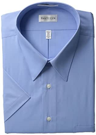 Van heusen men 39 s big wrinkle free poplin short for Wrinkle free dress shirts amazon