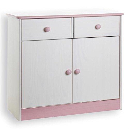 Kommode Anrichte Sideboard RONDO, 2 Türen +2 Schubladen, Kiefer massiv, weiß/rosa lackiert online kaufen