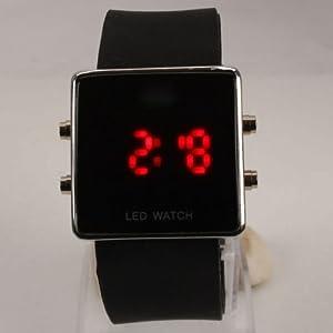 E-MART Elegant Square Stainless Steel Case Digital Display Red LED Light