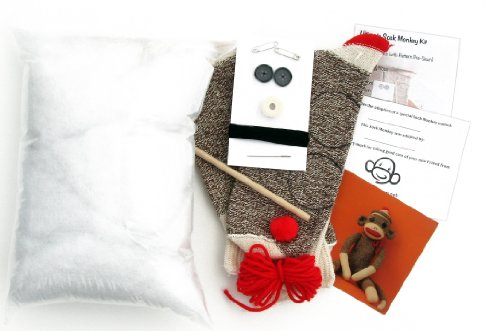 Ultimate All-in-1 Sock Monkey Kit with Pattern Pre-sewn on Socks (Rockford Red Heel Brown)
